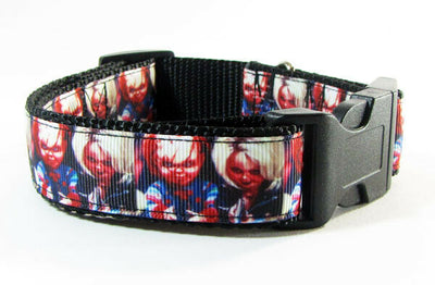 Chucky dog collar, handmade, adjustable, buckle collar,1
