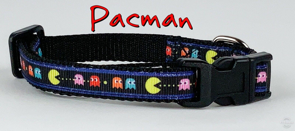 "Pac-Man cat or small dog collar 1/2"" wide adjustable handmade bell leash - Furrypetbeds"