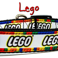 "Lego dog collar handmade adjustable buckle collar 1"" wide or leash Lego blocks - Furrypetbeds"