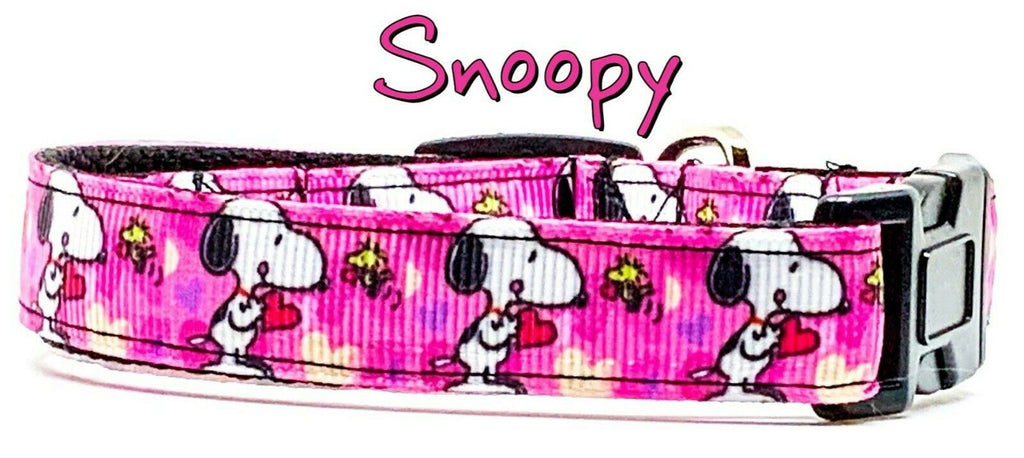 "Snoopy dog collar handmade adjustable buckle collar 5/8"" wide or leash girly - Furrypetbeds"