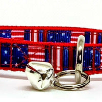 "USA Flag cat or small dog collar 1/2"" wide adjustable handmade bell or leash"