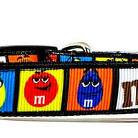 "M&M's candy dog collar handmade adjustable buckle collar 5/8"" wide or leash"