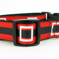 "Christmas dog collar Santas belt handmade adjustable buckle collar 1""wide - Furrypetbeds"