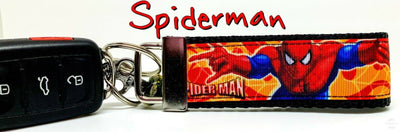 Spiderman Paint Key Fob Wristlet Keychain 1 1/4