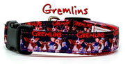 "Gremlins/Gizmo dog collar handmade adjustable buckle collar 5/8"" wide or leash - Furrypetbeds"