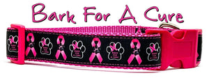 """Bark For a Cure"" dog collar handmade adjustable buckle collar 1"" wide or leash - Furrypetbeds"