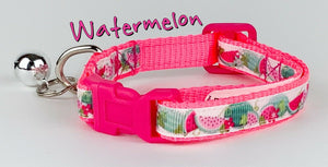 "Watermelon cat or small dog collar 1/2"" wide adjustable handmade bell leash - Furrypetbeds"