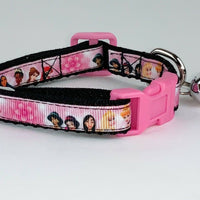 "Princesses cat & small dog collar 1/2""wide adjustable handmade bell leash Disney - Furrypetbeds"