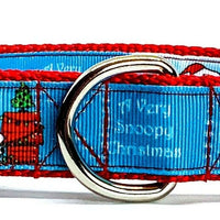 "Snoopy Christmas dog collar handmade adjustable buckle collar 1"" wide or leash"