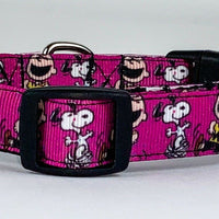 "Snoopy dog collar handmade adjustable buckle collar 5/8"" wide or leash fabric - Furrypetbeds"