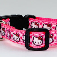 "Hello Kitty cat & small dog collar 1/2"" wide adjustable handmade bell Or leash - Furrypetbeds"