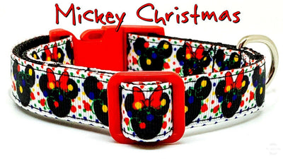 Mickey Christmas dog collar handmade adjustable buckle collar 5/8