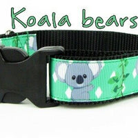 "Koala Bear dog collar Handmade adjustable buckle collar 1"" wide or leash $12 - Furrypetbeds"