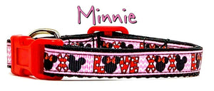 "Minnie Mouse cat & small dog collar 1/2"" wide adjustable handmade bell or leash"