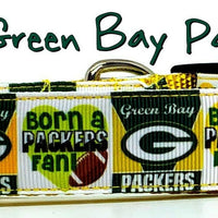 "Green Bay Packers dog collar adjustable buckle collar football 1"" wide or leash"