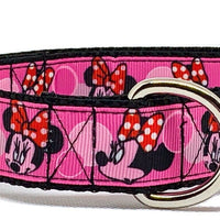 "Minnie Mouse Dog collar handmade adjustable buckle 1"" or 5/8"" wide leash Disney - Furrypetbeds"