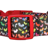 "Mickey Mouse dog collar Handmade adjustable buckle collar 1"" wide leash Disney - Furrypetbeds"