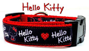 "Hello Kitty dog collar, handmade adjustable, buckle collar 1"" wide or leash - Furrypetbeds"