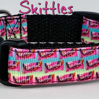 "Skittles dog collar handmade adjustable buckle collar 5/8"" wide or leash fabric - Furrypetbeds"