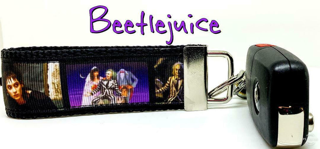 "Beetlejuice Key Fob Wristlet Keychain 1 1/4""wide Zipper pull Camera strap - Furrypetbeds"
