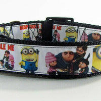 "Minions dog collar handmade adjustable buckle collar 1"" wide or leash fabric - Furrypetbeds"