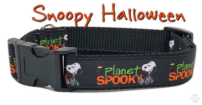 Snoopy Halloween dog collar, handmade, adjustable, buckle collar, 1