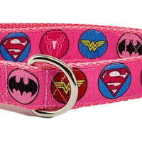 "Women Super Heros dog collar handmade adjustable buckle collar 1"" wide or leash - Furrypetbeds"