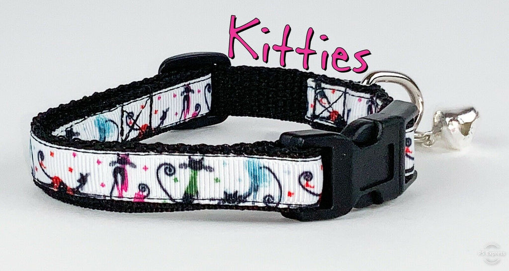 "Kittens cat or small dog collar 1/2"" wide adjustable handmade bell leash - Furrypetbeds"
