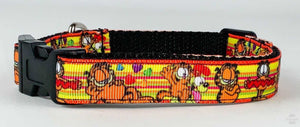 "Garfield dog collar handmade adjustable buckle collar 1"" wide or leash fabric - Furrypetbeds"