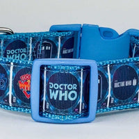 "Doctor Who dog collar handmade adjustable buckle collar 1"" wide or leash fabric - Furrypetbeds"