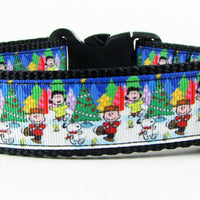 "Peanuts Christmas dog collar Handmade adjustable buckle collar 1"" wide leash - Furrypetbeds"