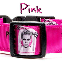 "Pink dog collar Handmade adjustable buckle collar 1""wide or leash Pop Rock music - Furrypetbeds"