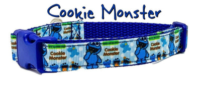 Cookie Monster dog collar handmade adjustable buckle collar 5/8