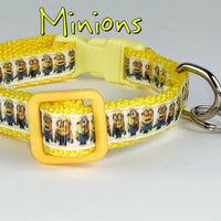 "Minions cat or small dog collar 1/2"" wide adjustable handmade bell leash - Furrypetbeds"