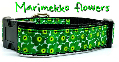 Marimekko Flowers dog collar handmade adjustable buckle collar 1