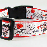 "Betty Boop dog collar handmade adjustable buckle collar 1"" wide or leash $12 - Furrypetbeds"