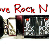 "I Love Rock N Roll Key Fob Wristlet Keychain 11/4""wide Zipper pull Camera strap - Furrypetbeds"