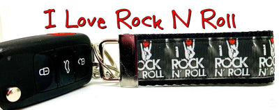 I Love Rock N Roll Key Fob Wristlet Keychain 11/4