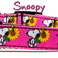 "Snoopy dog collar handmade adjustable buckle collar 5/8"" wide or leash Peanuts - Furrypetbeds"