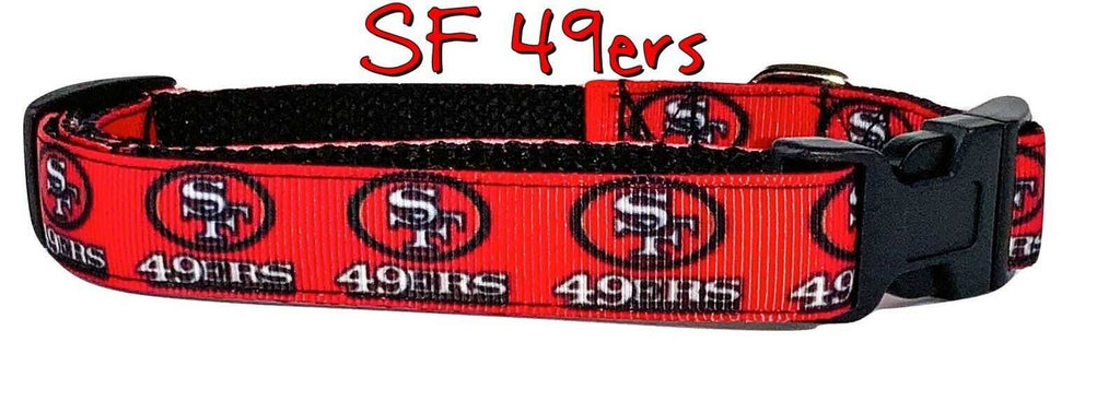 "SF 49ers dog collar handmade adjustable buckle collar 5/8"" wide or leash fabric - Furrypetbeds"
