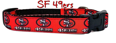 SF 49ers dog collar handmade adjustable buckle collar 5/8