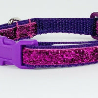 "Purple Glitter cat & small dog collar 1/2"" wide adjustable handmade bell leash - Furrypetbeds"