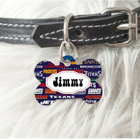 Pet ID Tag Football Teams NFL Personalized Custom Double Sided Pet Tag w/name - Furrypetbeds