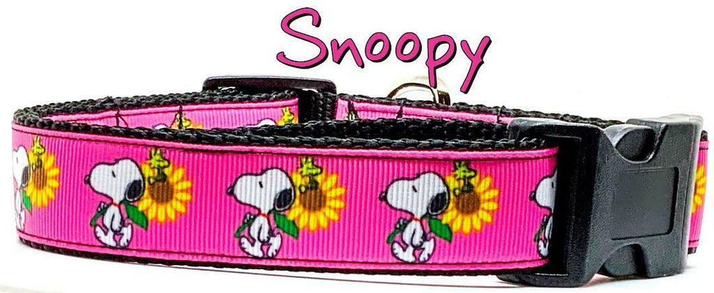 "Snoopy dog collar handmade adjustable buckle 1""or 5/8"" wide or leash girly pink - Furrypetbeds"