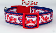 "Phillies dog collar handmade adjustable buckle baseball 1""or 5/8"" wide or leash - Furrypetbeds"