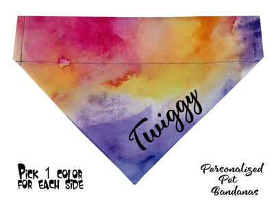 Personalized Dog Bandanas over the collar pet bandana Watercolors collar bandana - Furrypetbeds