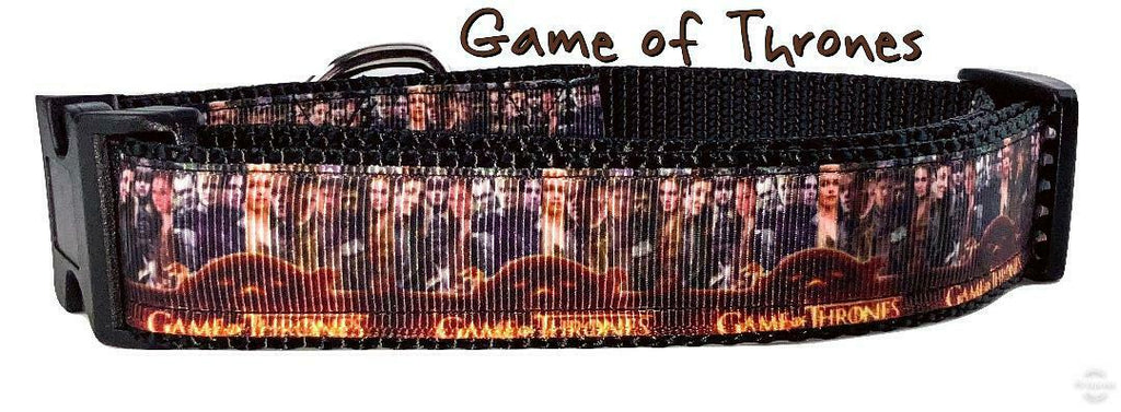 "Game of Thrones dog collar Handmade adjustable buckle collar 1"" wide or leash - Furrypetbeds"
