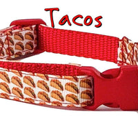 "Tacos dog collar handmade adjustable buckle collar 5/8"" wide or leash small dog - Furrypetbeds"