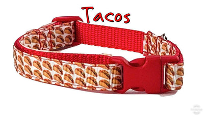 Tacos dog collar handmade adjustable buckle collar 5/8