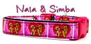 "Nala & Simba dog collar handmade adjustable buckle collar 5/8"" wide or leash - Furrypetbeds"